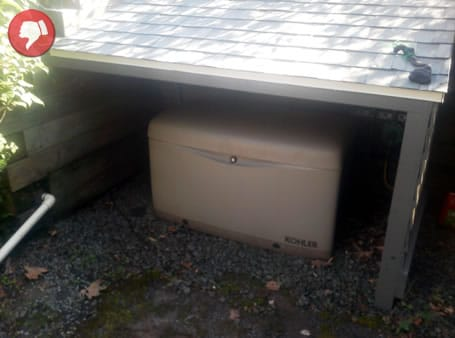 Generator installed without proper ventilation makes for a fire hazard.